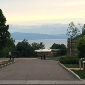 The view of the Adirondack Mountains from Willard Street, on the campus of Champlain College